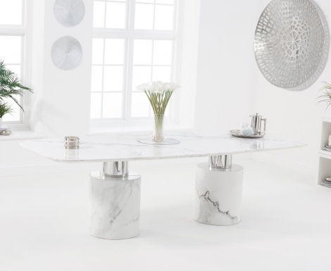 Adelaide 260cm White Marble Dining Table