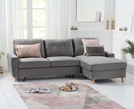 Carlotta Grey Velvet Fabric Chaise Sofa Bed