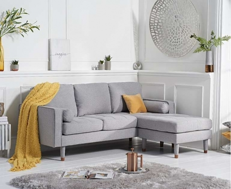 Lisa Grey Linen Fabric 3 Seater Reversible Chaise Sofa