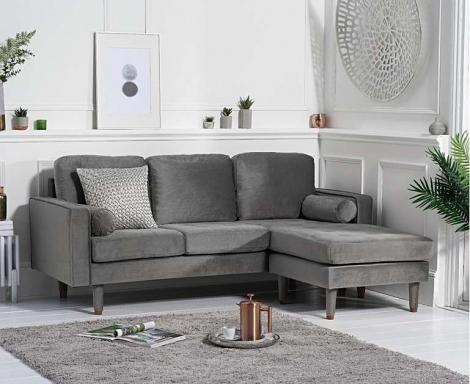 Lisa Grey Velvet Fabric 3 Seater Reversible Chaise Sofa