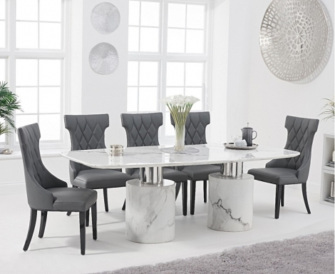 Adelaide 220cm White Marble Dining Table & Fredo Faux Leather Chairs