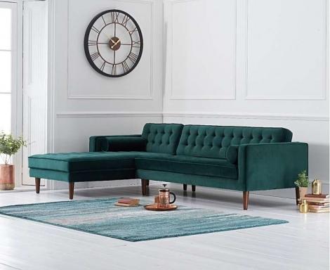 Idriana Green Velvet Fabric Chaise Sofa