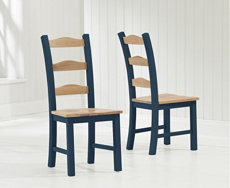 2x Sandringham Oak and Blue Painted Dining Chairs (Pair)