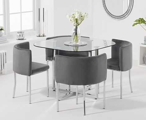 Stowaway Glass & Chrome Dining Set with 4 Grey Velvet Chairs