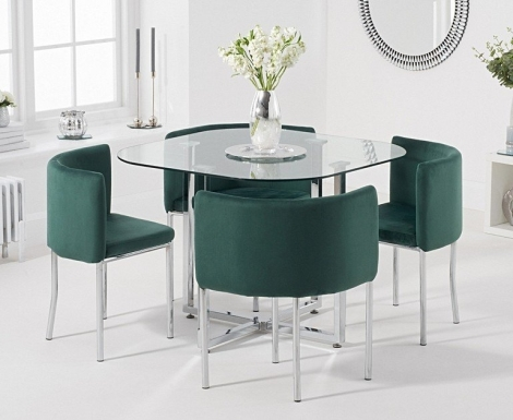 Stowaway Glass & Chrome Dining Set with 4 Green Velvet Chairs