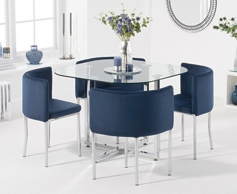 Stowaway Glass & Chrome Dining Set with 4 Blue Velvet Chairs