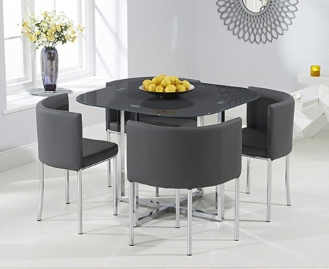 Stowaway Grey Glass Dining Set with 4 Grey Chairs