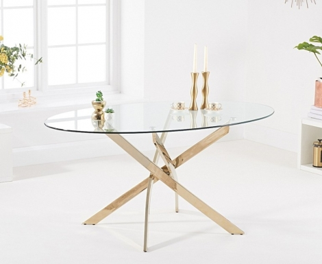 Daytona Oval 165cm Glass Gold Leg Dining Table