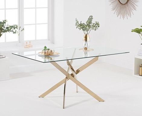 Daytona Rectangular 160cm Glass Gold Leg Dining Table