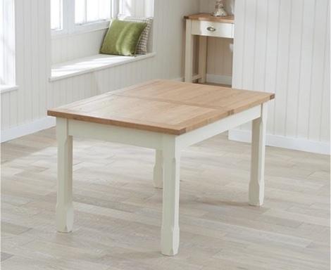 Sandringham Oak and Cream Painted Dining Table -130cm Extending