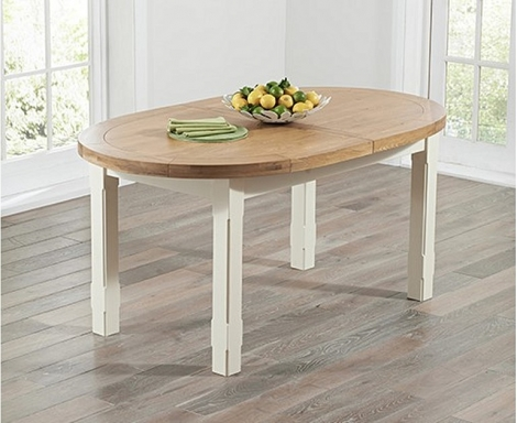 Cheyenne 167cm - 247cm Extending Oak and Cream Painted Oval Dining Table