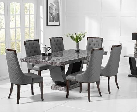 Rivilino 170cm Dark Grey Marble Dining Table and Aviva Chairs
