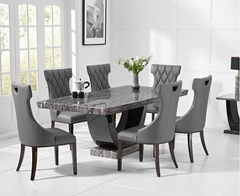Rivilino 170cm Dark Grey Marble Dining Table and Fredo Chairs