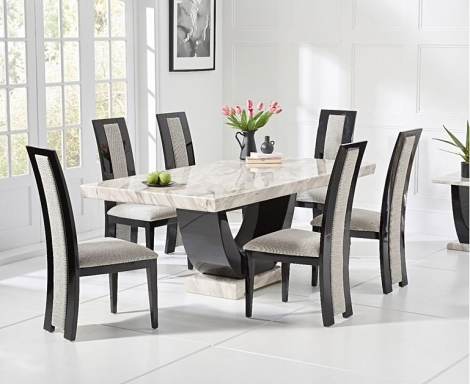 Rivilino 170cm Cream Marble Dining Table & Chairs