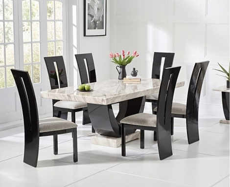 Rivilino 170cm Cream Marble Dining Table & Valencie Chairs