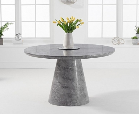 Ravelle Round Grey 130cm Marble Dining Table
