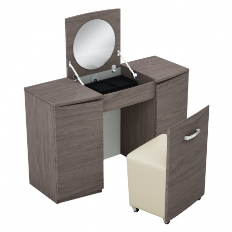 Amelia Vanity Unit With Stool In Chestnut High Gloss