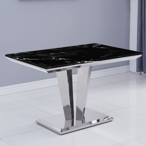 Riccardo 120cm Black Marble & Stainless Steel Dining Table
