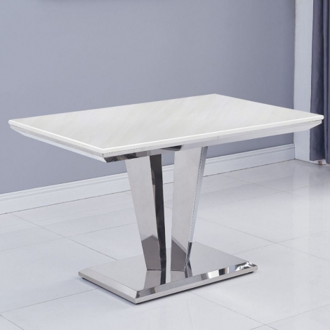Riccardo 120cm Ivory Marble & Stainless Steel Dining Table