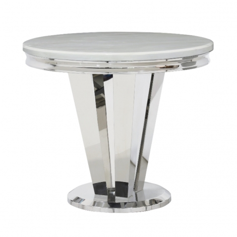 Riccardo 90cm Round Ivory Marble & Stainless Steel Dining Table