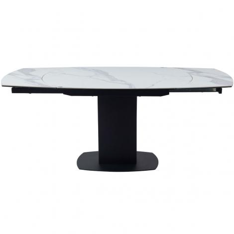 Ritz 120-180cm -  White Ceramic Marble Swivel Mechanism Extending Table