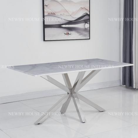 Riviera 160cm White Marble & Stainless Steel Dining Table