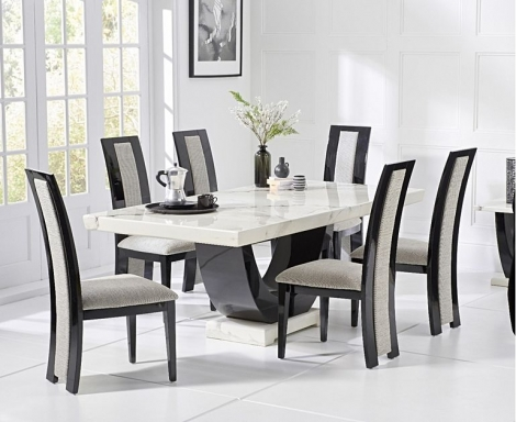 Rivilino 170cm White Marble Dining Table and Rivilino Chairs