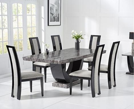 Rivilino 170cm Dark Grey Marble Dining Table and Rivilino Chairs