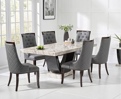 Rivilino 200cm Cream Marble Dining Table & Aviva Chairs