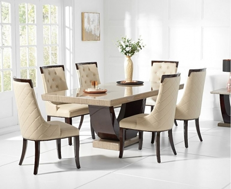 Rivilino 170cm Brown Marble Dining Table & Aviva Chairs