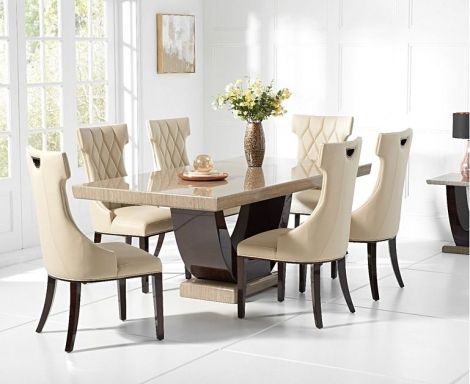 Rivilino 170cm Brown Marble Dining Table & Fredo Chairs