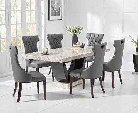 Rivilino 170cm Cream Marble Dining Table & Fredo Chairs