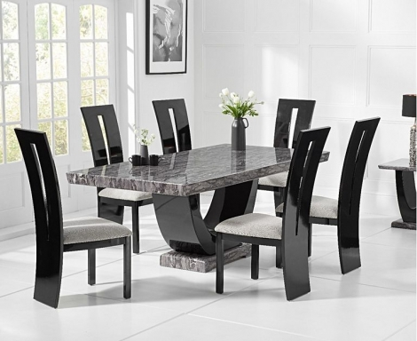 Rivilino 170cm Dark Grey Marble Dining Table and Valencie Chairs