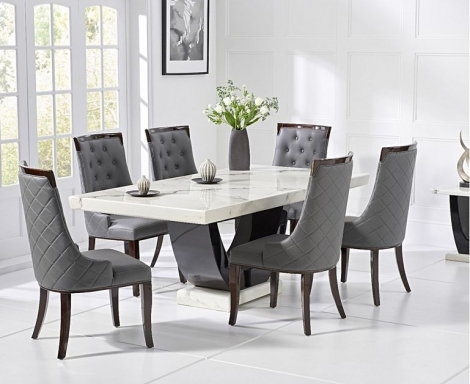 Rivilino 170cm White Marble Dining Table and Aviva Chairs