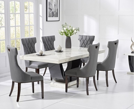 Rivilino 170cm White Marble Dining Table and Fredo Chairs