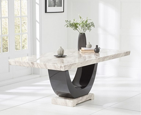 Rivilino 170cm Cream & Black Marble Dining Table