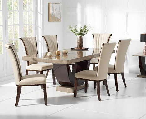 Rivilino 170cm Brown Marble Dining Table & Almeria Chairs