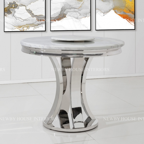 Romano 90cm Round White Marble & Stainless Steel Dining Table