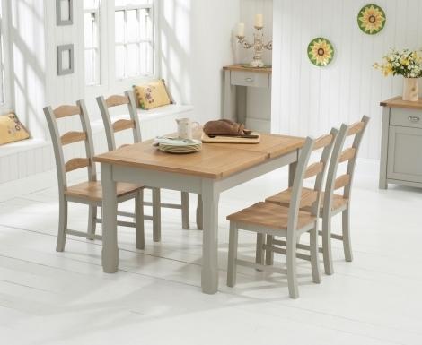 Sandringham Oak & Grey Painted Dining Table -130cm Extending & 4 Chairs