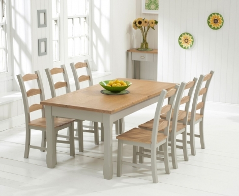 Sandringham Oak & Grey Painted Dining Table -180cm Extending with 6 Chairs