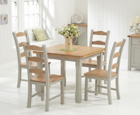Sandringham Oak & Grey Painted Dining Table - 90cm Square Flip Top & 4 Chairs