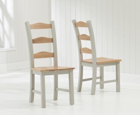 2x Sandringham Oak & Grey Painted Dining Chairs (Pair)