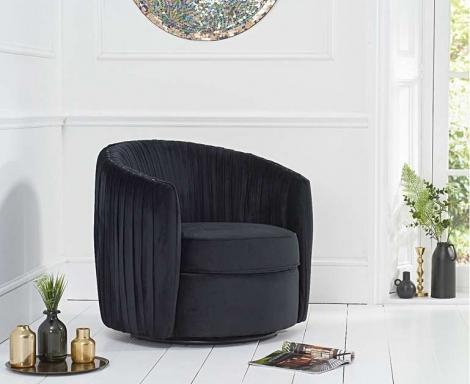 Sarana Swivel Accent Chair - Black Velvet