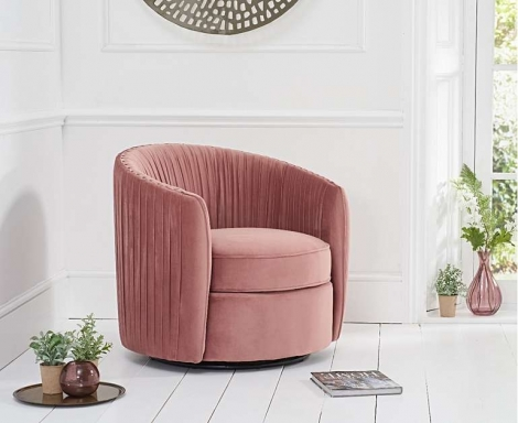 Sarana Swivel Accent Chair - Pink Blush Velvet