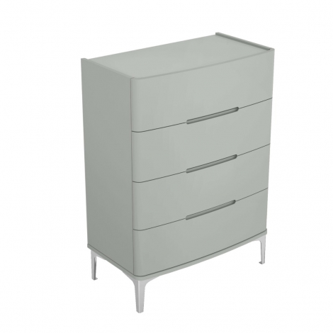 Arya 4 Drawer Tall Wide Chest in Light Grey High Gloss