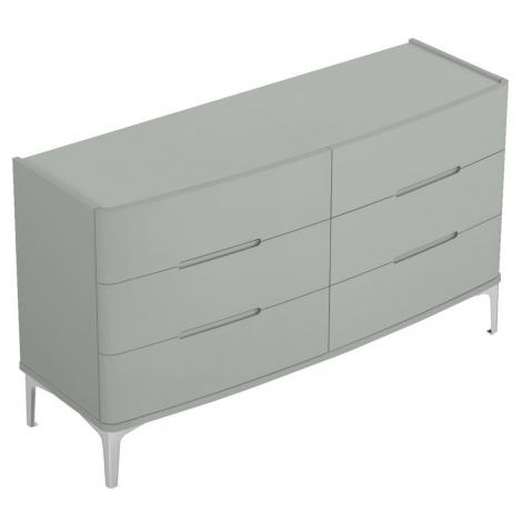 Arya 6 Drawer Dresser in Light Grey High Gloss