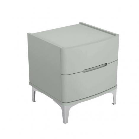 Arya 2 Drawer Nightstand / Bedside Chest in Light Grey High Gloss