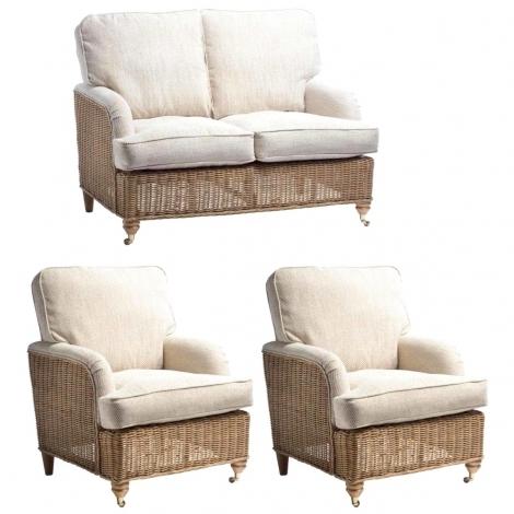 Desser, Seville, Light Oak, Cane 2 Seater Sofa & 2 Chairs