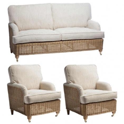 Desser, Seville, Light Oak, Cane 3 Seater Sofa & 2 Chairs