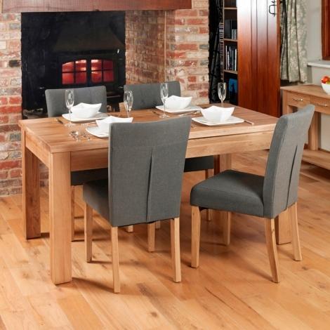 Mobel Oak 150cm Oak Table & 4 Flare Back Upholstered Dining Chairs